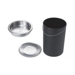 Helit corbeille à cendrier en acier, ronde, gris moyen,