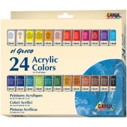 C.kreul peinture acrylique el greco, 12 ml, set de 24