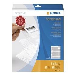Herma pochettes pour petites dias, 5 x 5 cm, claires, en pp