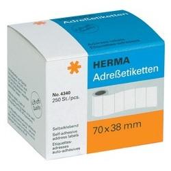 Herma étiquettes d'adresse, 70 x 38 mm, en continu, blanc