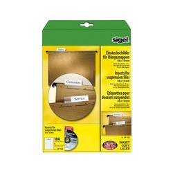 Sigel etiquettes pc pour dossiers suspendus, 60 x 21 mm