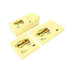 3m post-it adhésifs, 102 x 152mm, jaune, 100 feuilles/bloc (LOT DE 6)