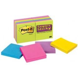 3m post-it bloc-notes super sticky notes ultra, 76 x 76 mm (LOT DE 12)