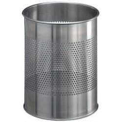 Durable corbeille à papier en acier inoxydable, 15 litres