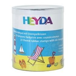 "Heyda kit de tampons à motif ""vacances"", en boîte transpa-"