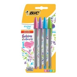 Bic stylo à bille cristal large fashion colours,blister de 4