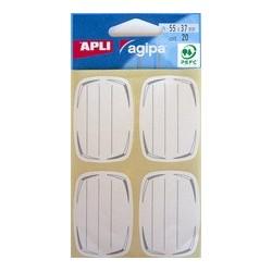 Agipa etiquettes pour livre, blanc/bleu, 36 x 56 mm, lignées