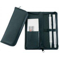 Alassio etui pour stylos, pour 3 stylos, noir, en cuir,