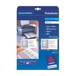 Avery zweckform cartes de visite quick & clean, blanc,