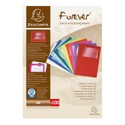Exacompta chemises à fenêtre forever, a4, 120 g/m2, orange