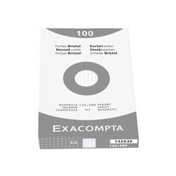 Exacompta fiches bristol, 125 x 200 mm, carreaux, blanc