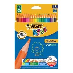 Bic kids crayons de couleur evolution, étui en carton de 18