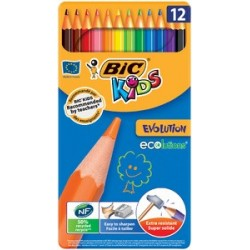 Bic crayons de couleur kids ecolutions evolution, en 12