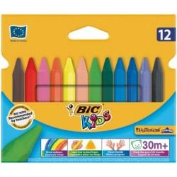 Bic crayons de cire plastidecor triangle, étui de 12