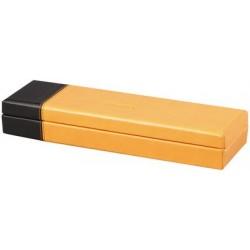 Rhodia plumier, en similicuir, orange