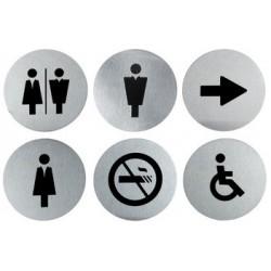 """Securit pictrogramme """"door signs"""" kit de 6, acier inoxydable"""