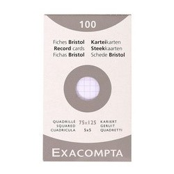 Exacompta fiches bristol, 75 x 125 mm, quadrillé, blanc