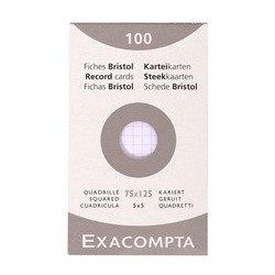 Exacompta fiches bristol, 75 x 125 mm, uni, blanc