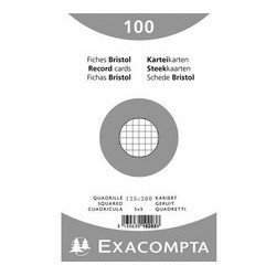 Exacompta fiches bristol, 125 x 200 mm, quadrillé, couleurs