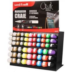 Uni-ball marqueur craie chalk, présentoir de 63 pièces