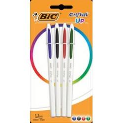 Bic stylo à bille rétractable cristal up, couleurs assorties