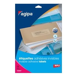 Agipa étiquettes invisibles, 99,1 x 67,7 mm, transparent