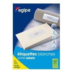 Agipa etiquettes d'adresses, 105 x 39mm,blanc, rectangulaire
