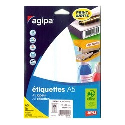 Agipa étiquettes multi-usage, 19 x 38 mm, blanches