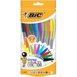Bic stylos à bille cristal large multicolor, sachet de 10