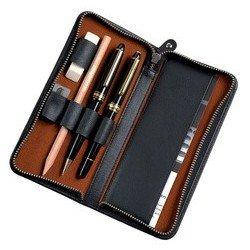 Alassio etui pour 3 stylos, cuir, noir