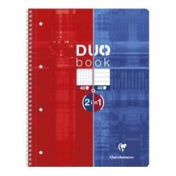 Clairefontaine cahier duobook, a4, mi-quadrillé mi-ligné