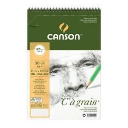 """Canson album spiralé de papier dessin """"c"""" à grain, a4"""