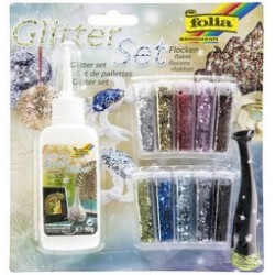 "Folia set de paillettes ""flocons"" avec colle déco incluse"