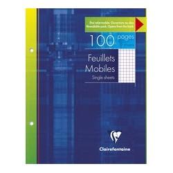 Clairefontaine feuillets mobiles a4, quadrillé 5/5,100 pages