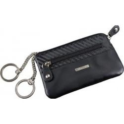 Alassio Étui porte-clés, cuir, noir