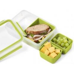 Emsa boîte pour goûter clip & go, 1,0 l, transparent / vert
