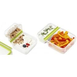 Emsa boîte à yaourts clip & go, 0,6 l, transparent / vert