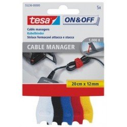 Tesa on & off cable manager small, coloré, 12 mm x 200 mm