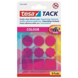 Tesa tack pastilles adhésives, double face, rose transparent