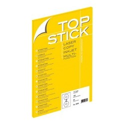 Top stick étiquettes cd/dvd, diamètre: 117 mm, blanc