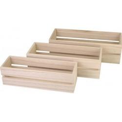 Kreul boîte en bois, rectangulaire, kit de 3
