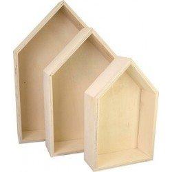 """Kreul boîte en bois """"maison"""", kit de 3"""