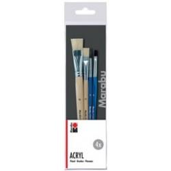 Marabu set de pinceaux pour l'acrylique acryl, 4 pièces