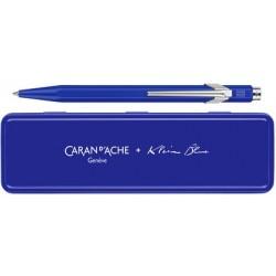 Caran d'ache stylo à bille rétractable 849 klein blue, bleu