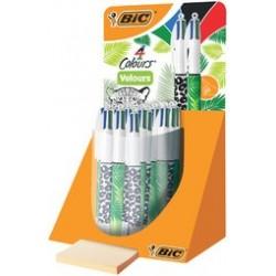 Bic stylo à bille rétractable 4colours velours, présentoir