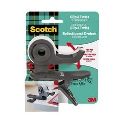 Scotch dévidoir de ruban adhésif clip & twist, gris foncé
