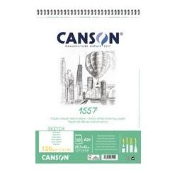 Canson album spiralé papier dessin 1557, a3+, 120 g/m2
