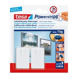Tesa powerstrips crochet cadre photo, large, blanc