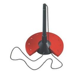 Helit porte-stylo, noir/rouge avec chaîne en métal chromée
