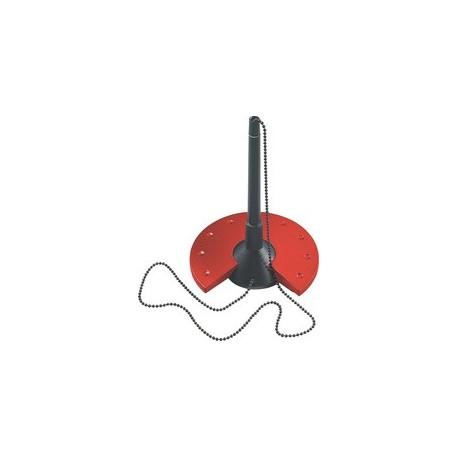 Helit porte-stylo, noir / gris lumière, avec chaîne en métal